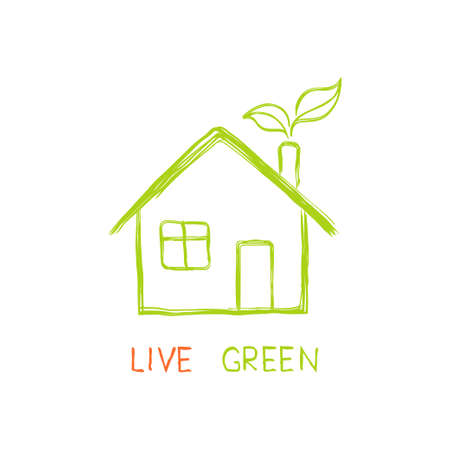 rural house: Eco friendly house in doodle style Illustration