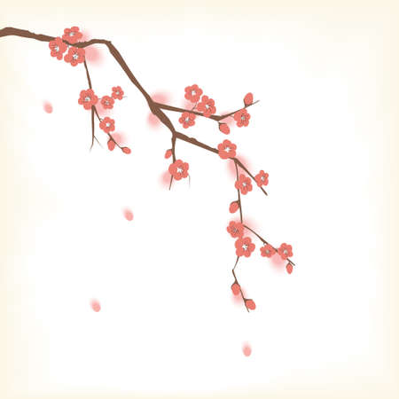 cherry branch: Plum blossom in Oriental painting style
