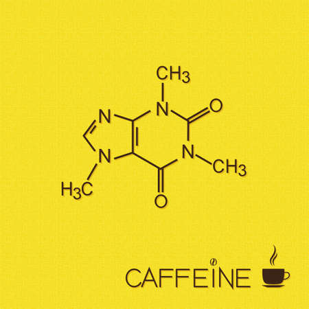 Caffeine molecule and cup of coffee over burlap texture