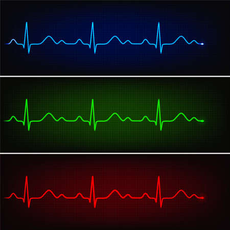 Cardiogram of healthy heart in three neon colors