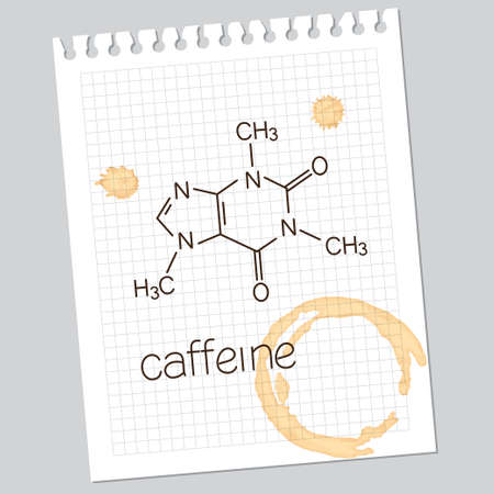 Caffeine molecule over squared notebook paper sheet with coffee stains Vector