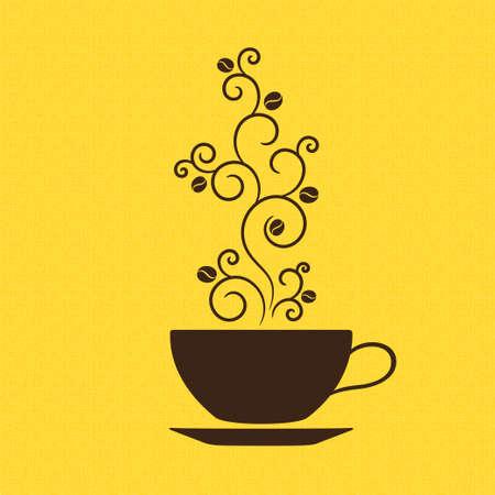 çuval bezi: Çuval bezi dokusu üzerinde çiçek süs buharla fincan kahve