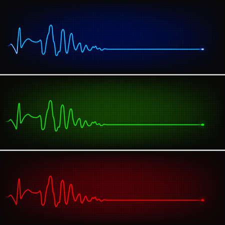 Cardiogram of heart stop and death in three neon colors