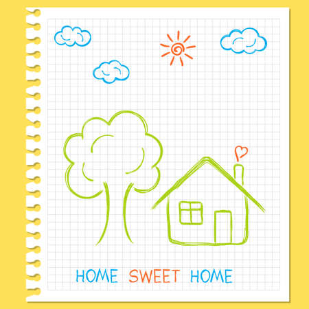 Childlike doodle drawing of house, tree, sun and clouds on squared paper Vector