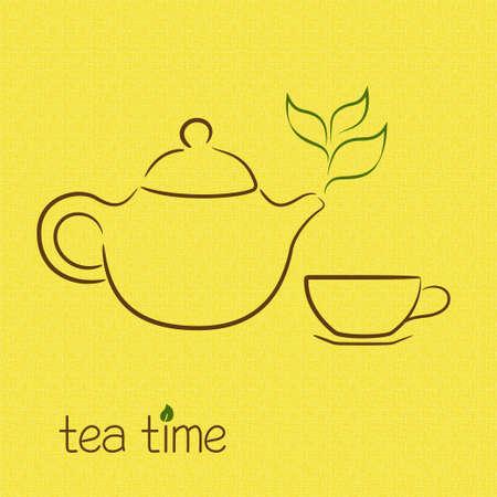 tea kettle: Teapot steaming in shape of tea leaves over burlap texture