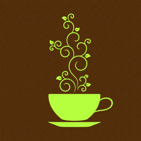 coffee leaf: Cup with floral ornamental steam over burlap texture  Tea or green coffee concept Illustration