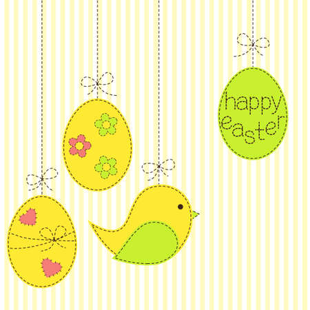 sewed: Greeting card with Easter eggs and bird in patchwork style Illustration