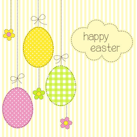 Greeting card with Easter eggs in patchwork style Vector