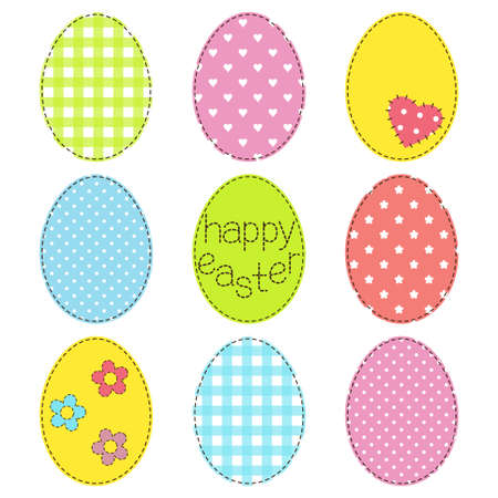 Set of Easter eggs in patchwork style Vector