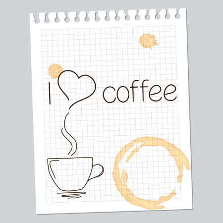 hand written:  I love coffee  note with drawn cup and coffee stains