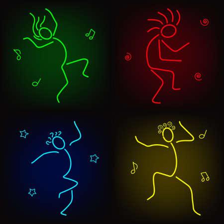 Dancing neon human figures Vector