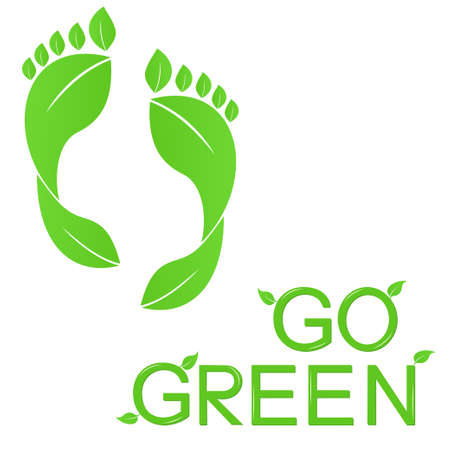 Go green concept with human footprints of leaves