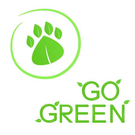 eco slogan: Va el concepto verde con la huella de los animales de las hojas