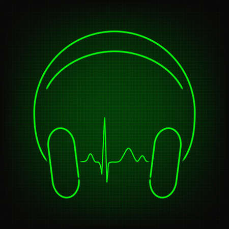 heartbeat: Cardiogram line in headphones in neon style Illustration
