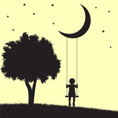 Niño en los columpios que cuelgan de la luna y los árboles siluetas