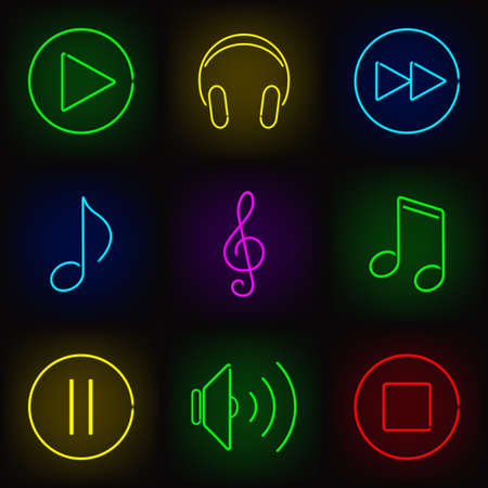 Music neon icons set  play buttons, notes, headphones and speaker Vector