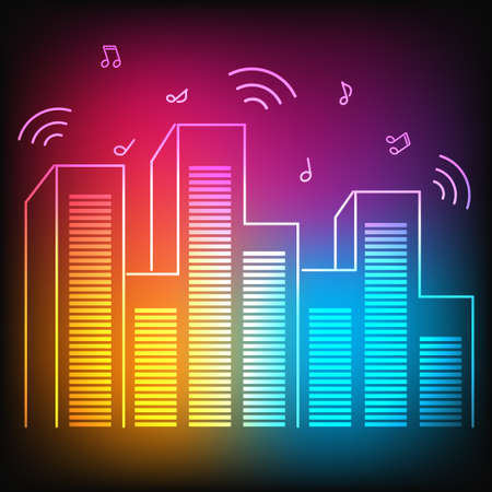 Music neon city with equalizer skyscrapers Vector