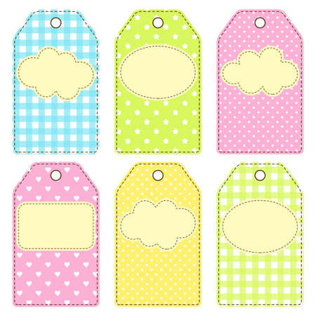Set of gift or price tags in patchwork style Vector