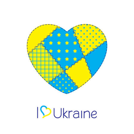 sewed: Patchwork heart in Ukraine national flag colors  Diverse and unity of Ukraine concept