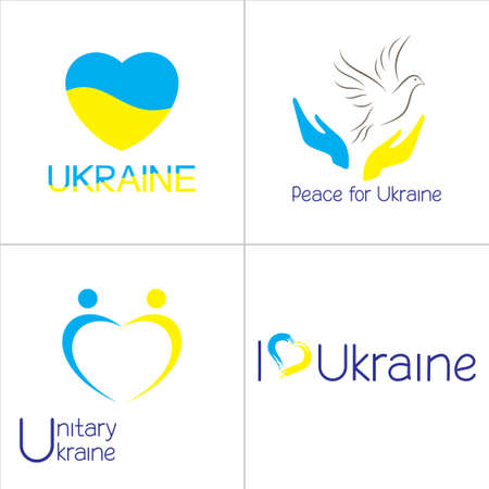 Set of icons in Ukraine national flag colors Vector