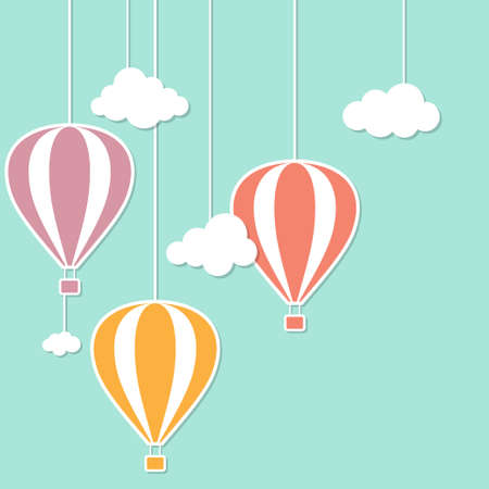 air baloon: Hot air baloons and clouds in paper cutout style