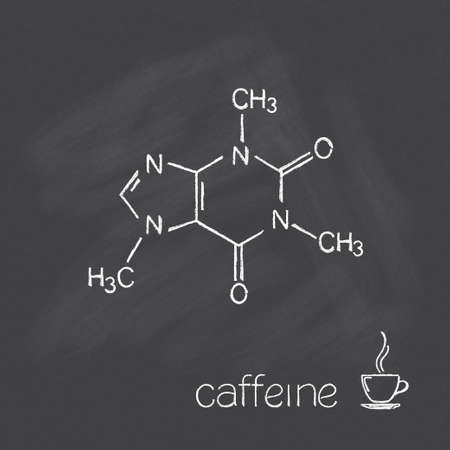 Caffeine molecule and cup of coffee chalked on blackboard Vector