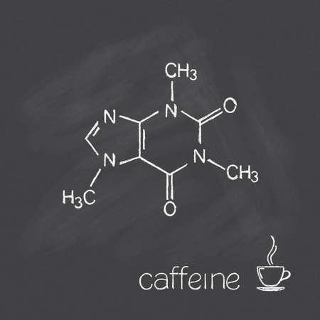 caffeine: Caffeine molecule and cup of coffee chalked on blackboard