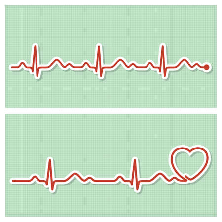 heart monitor: Medical banners with healthy cardiogram line in vintage paper style Illustration