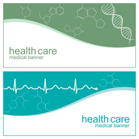 Medical banners with DNA, cardiogram line and molecules structure Vector