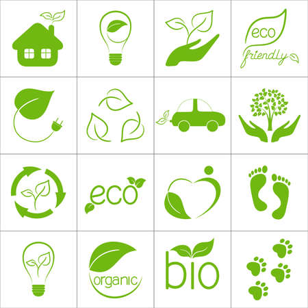 Eco friendly icons set Illustration