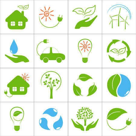 save water: Eco friendly icons set Illustration