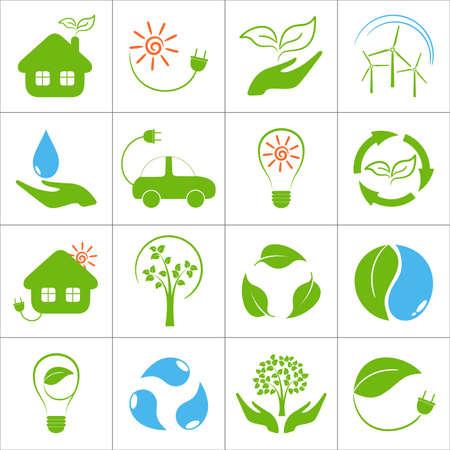 Eco friendly icons set Illustration