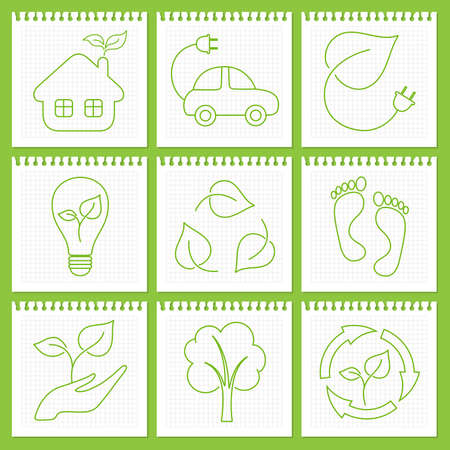 hand torn: Outlined eco friendly icons on notebook paper sheets Illustration
