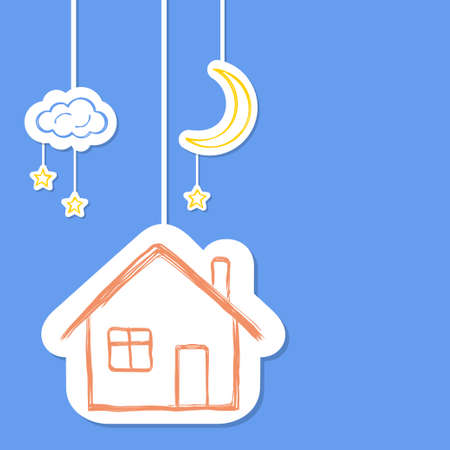 dream house: House with moon, stars and clouds in doodle style Illustration