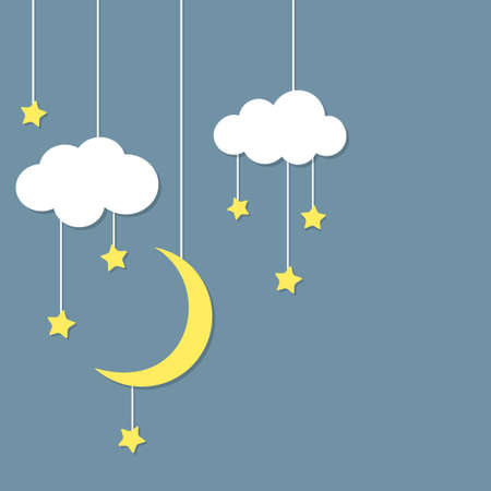 hanging on: Night background with new moon, stars and clouds hanging