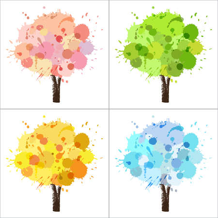 Four seasons tree of paint splashes with colors for spring, summer, autumn, winter
