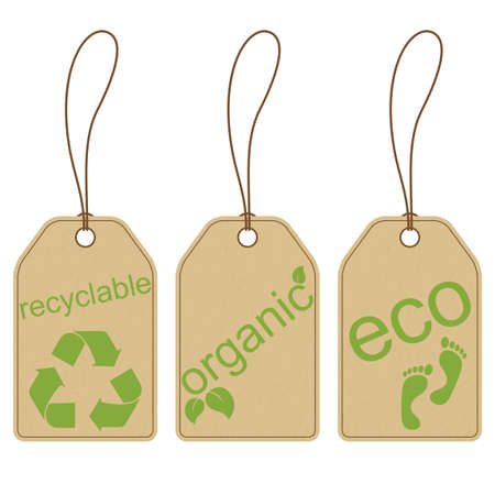 recyclable: Set of carton tags for recyclable, organic and eco products  Illustration