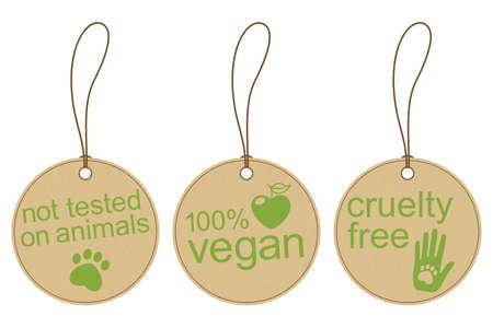 Set van kartonnen tags voor veganistisch, dierproefvrij en ethische producten Stock Illustratie