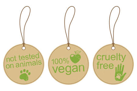 ethical: Set of carton tags for vegan, cruelty free and ethical products with grunge effect