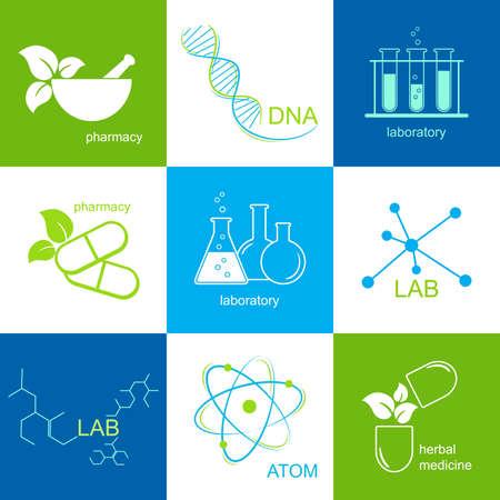 mortero: Set de iconos para la atención de salud, farmacia y laboratorio Vectores