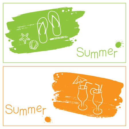 Grunge summer banners with brush strokes and paint splashes Vector