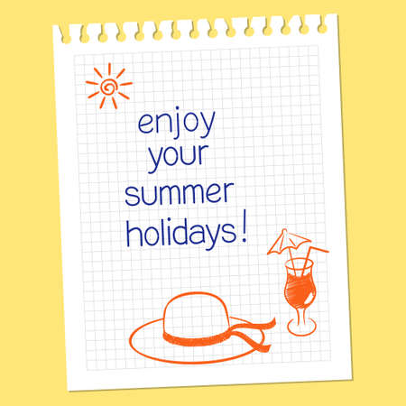 Note Enjoy your summer holidays with hat and cocktail glass in hand drawn style