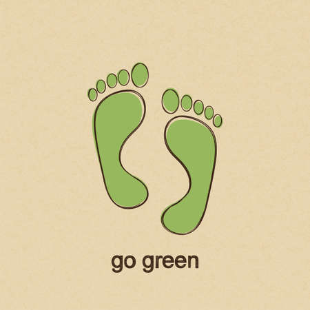 reflexology: Go green concept with human footprints in doodle style over carton paper background