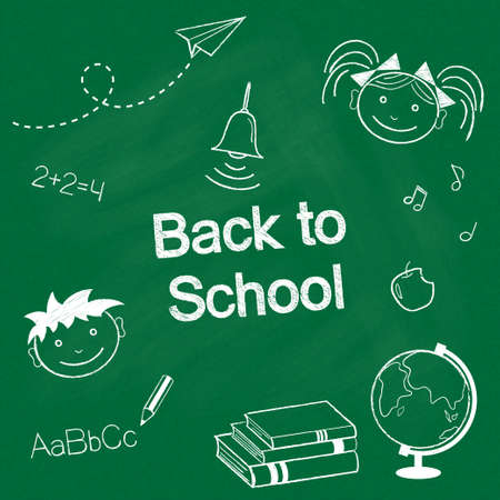 rank: Back to school concept  Hand drawn school items chalked on blackboard