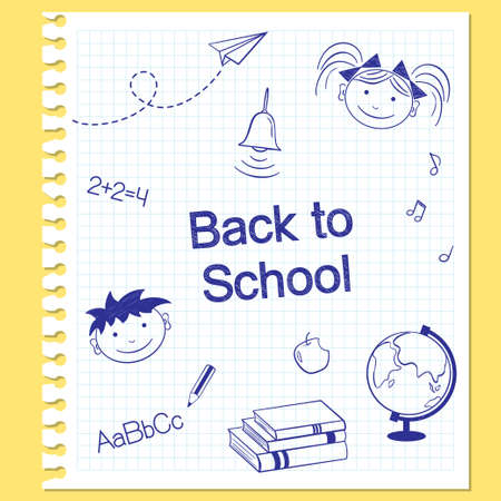 study icon: Back to school concept  Hand drawn school items on squared notebook paper