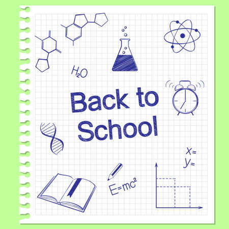 Back to school concept  Hand drawn school items on squared notebook paper Vector