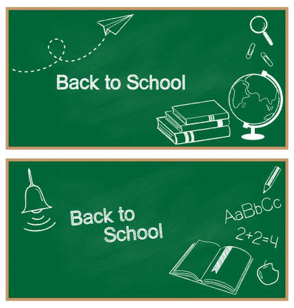 Back to school banners  Hand drawn school items chalked on blackboard Vector