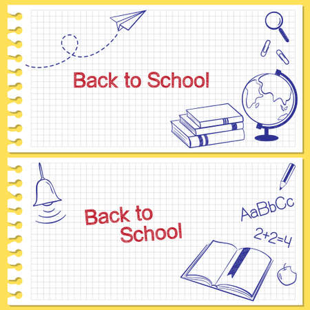 sketch book: Back to school banners  Hand drawn school items on squared notebook paper