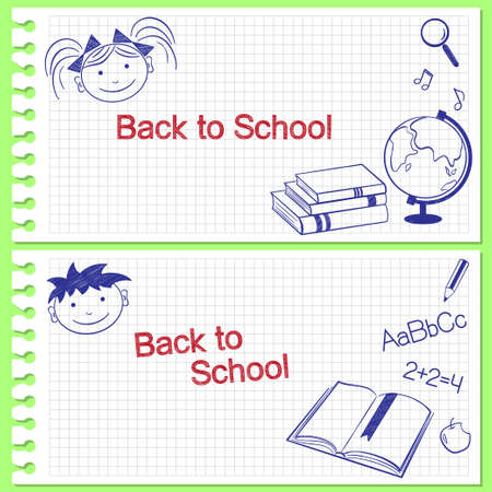 Back to school banners  Hand drawn school items on squared notebook paper Vector