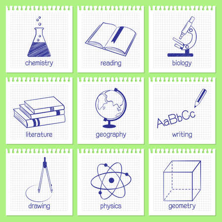Set of hand drawn icons and emblems for school educational subjects Vector